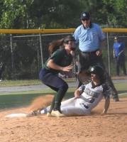 New Kent's Bri Glenn slides into third base safely to position herself in scoring position.Robb Johnson photo